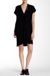 Vince Genuine Leather Trim Dress Black