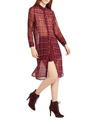 Bcbgeneration Plaid Long Sleeve Shirt Dress Red