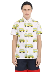 Au Jour Le Jour School Bus Printed Cotton Poplin Shirt Yellow