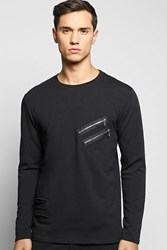 Boohoo Distressed Sweater With Double Zip Black