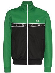 Fred Perry Logo Tape Colour Block Track Jacket Green