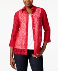 Alfred Dunner Burnout Layered Look Blouse