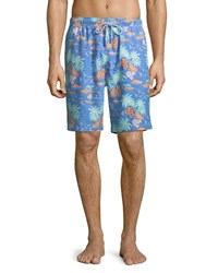 Peter Millar Hawaiian Sunset Swim Trunks Blue