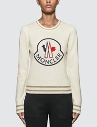 Moncler Logo Knitted Sweater White