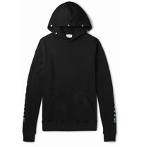 Rhude Oversized Printed Loopback Cotton Jersey Hoodie Green
