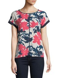 Ivanka Trump Printed Short Sleeve Blouse Blush Multi