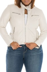 Slink Jeans Plus Size Women's Fitted Leather Moto Jacket Off White