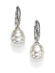 Majorica 12Mm White Baroque Pearl And Stering Silver Dangle Huggie Hoop Earrings 0.5 White Silver