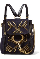 Chloe Faye Mini Studded Suede And Leather Backpack Navy