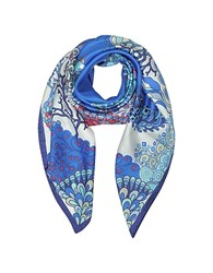 Mila Schon Seahorses And Coral Reefs Print Twill Silk Square Scarf Blue