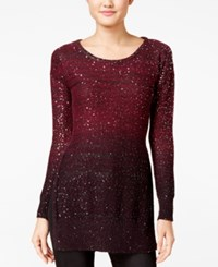 Xoxo Juniors' Ombre Sequined Tunic Sweater Burgundy