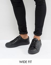 Asos Wide Fit Lace Up Sneakers In Black Black