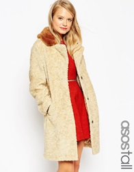 Asos Tall Coat In Borg With Contrast Faux Fur Collar Stone