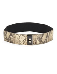 Vince Camuto Embossed Leather Turnlock Stretch Belt Natural