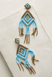 Anthropologie Halona Beaded Drop Earrings Turquoise