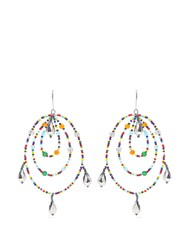 Christopher Kane Beaded Triple Hoop Earrings Silver Multi
