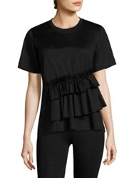 Marques Almeida Tiered Jersey Top Black