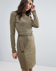 First And I Knitted Belted Dress Dark Olive Green