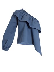 Rachel Comey Georgia Asymmetric Ruffled Cotton Blend Top Blue