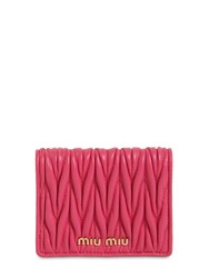 Miu Miu Compact Quilted Leather Wallet Magenta
