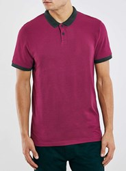Topman Burgundy Black Slim Fit Polo Shirt Red