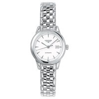 Longines L43744126 Women's Flagship Automatic Date Bracelet Strap Watch Silver White