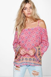 Boohoo Cold Shoulder Printed Woven Top Multi