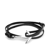 Miansai Silver Tone Anchor Leather Bracelet Black