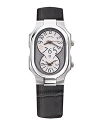 Philip Stein Teslar Large Dual Zone Watch On Gray Blue Strap Silver