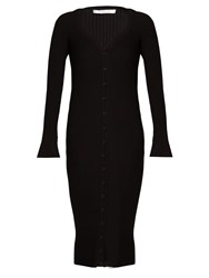 Givenchy Deep V Neck Ribbed Knit Wool Midi Dress Black