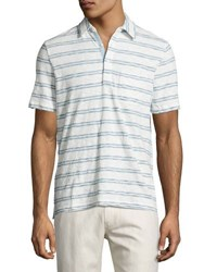 Faherty Ss Striped Polo Shirt Indigo
