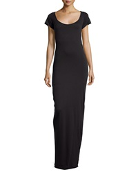 Talia Scoop Neck Short Sleeve Maxi Dress Black