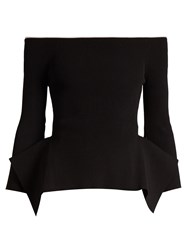 Roland Mouret Cartwright Off The Shoulder Ribbed Crepe Top Black