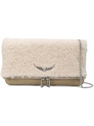 Zadig And Voltaire Rock Shearling Shoulder Bag Nude And Neutrals