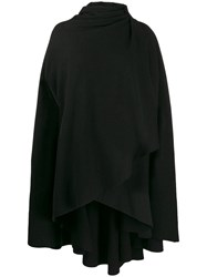 Aganovich Hooded Wrap Front Cape Black