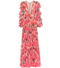Costarellos Floral Gown Red