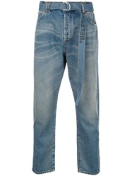 Off White Bleached Belted Jeans Blue
