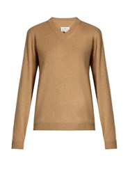 Maison Martin Margiela V Neck Wool Sweater Beige