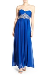 Women's Sequin Hearts 'Jessica' Sequin Waist Strapless Gown Blue