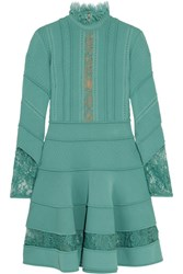 Elie Saab Lace Trimmed Knitted Dress Turquoise