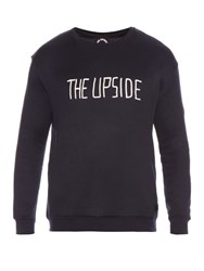 The Upside Flocked Logo Jersey Sweatshirt Navy
