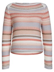 Oui Chunky Knit Stripe Jumper Rose Black