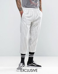 Reclaimed Vintage Inspired Relaxed Trousers In Stripe White