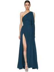 Elie Saab One Shoulder Crepe Georgette Dress Blue