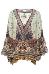 Camilla Woman The Caravan Printed Silk Crepe De Chine And Chiffon Blouse Multicolor