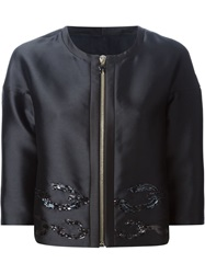 Moncler Gamme Rouge Sequins Embroidered Boxy Jacket Black
