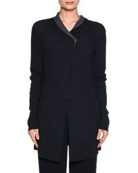 Giorgio Armani Long Perforated Snap Front Jacket Navy Gray Navy Grey