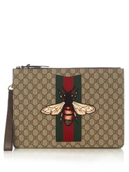 Gucci Supreme Bee Embroidered Document Holder Brown Multi