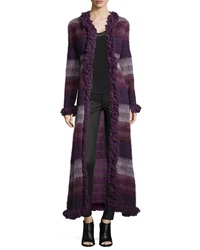 Anna Sui Brushed Wool Long Gauze Coat Deep Purple