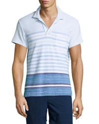 Orlebar Brown Terry Striped Polo Shirt Maritime Iris Dark Blue